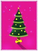 Kort med julgran — Stockvektor