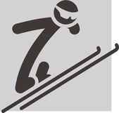 зимний спорт иконки - прыжки с трамплина — Cтоковый вектор