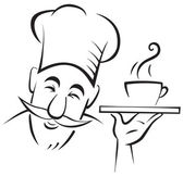 Chef cook contour — Vector de stock