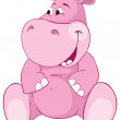 Stock Vector: Pink hippopotamus - first teeth