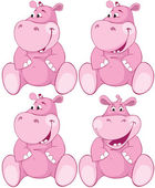 Set of pink hippopotamus - first teeth — Stock Vector