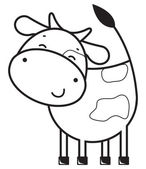 Funny outline cow — Vector de stock