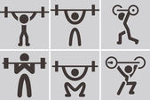 Weightlifting icons — Stock Vector