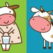 Stock Vector: Two funny cows