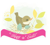Easter background - bird in nest — Stock Vector