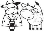 Two funny cows — Stock Vector