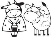 Dos vacas graciosas — Vector de stock