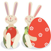 Two easter rabbits — Stock Vector