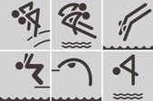 Iconos de buceo — Vector de stock