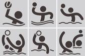 Water polo icons — Stock Vector