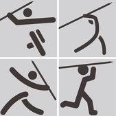 Javelin throw icons — Stock Vector