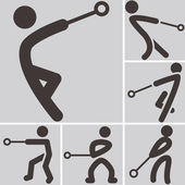 Hammer throw icons — Stock Vector