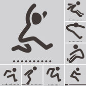 Long jump  icons — Vettoriale Stock