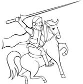 Knight with lance on horseback — Vector de stock