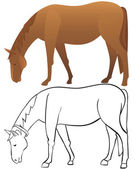 Horse outline and color — Vector de stock