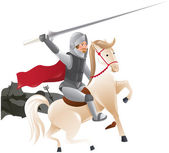 Knight with lance on horseback — Stock Vector