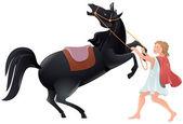 Člověk zkrotí koně — Stock vektor
