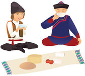 Moldovan and Kazakh over lunch — Stock Vector