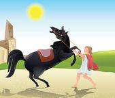 Man tames the horse — Stock Vector