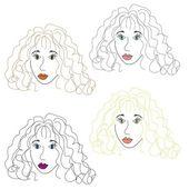 Nice girls hand drawn illustration — Stock Vector