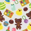 Seamless background with baby objects — 图库矢量图片