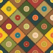 Patchwork background with different patterns and buttons — Stock Vector