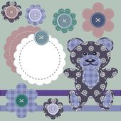 Scrapbook objects, teddy bear and flowers — 图库矢量图片