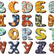 Stok Vektör: Different textile scrapbook alphabet on white background