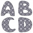 Scrapbook lace alphabet letters — Stock Vector