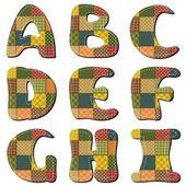 Lappendeken scrapbook alfabet deel 1 — Stockvector