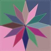 Fond de patchwork avec des éléments de décor — Vecteur