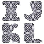 Scrapbook lace alphabet letters — Stock Vector