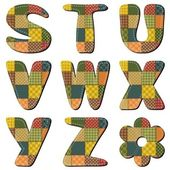 Patchwork-scrapbook-alphabet-teil 3 — Stockvektor