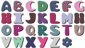 Different colors scrapbook alphabet — Stockvector