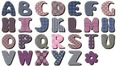 Different textile scrapbook alphabet on white background — Vettoriale Stock