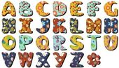 Different textile scrapbook alphabet on white background — Wektor stockowy