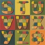 lappendeken scrapbook alfabet deel 3 — Stockvector