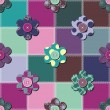 Patchwork background with flowers and buttons — Stock Vector #13188784