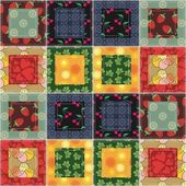 Patchwork background with different patterns — Stock vektor