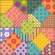 Patchwork background with different patterns — Stock Vector #13250208
