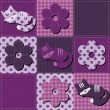 Background patchwork with flowers and cats — Imagens vectoriais em stock