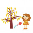 Girl watering money tree on white background — Stock Vector