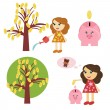Money tree, girl and piggy bank — Stock Vector #13250300