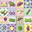 Lady objects on patchwork background — Stock Vector