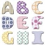 Patchwork scrapbook alphabet part 1 — Stock Vector #13250311