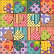 Patchwork background with different patterns - Stock Vector