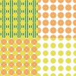 Four seamless background with lemons and oranges — Stock Vector