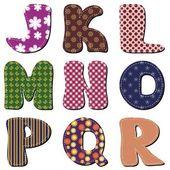 Parte di patchwork scrapbook alfabeto 2 — Vettoriale Stock