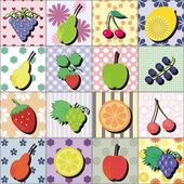 Fruits and berries on patchwork background — Stock Vector
