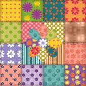Patchwork pattern with buttons — Stock Vector